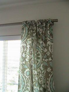 Suzani curtains in grey/powder blue