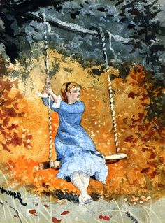The Athenaeum - Girl on a Swing (Winslow Homer - No dates listed). #watercolor #winslowhomer