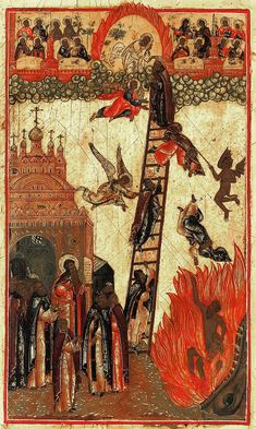 eliron: The Ladder of Divine Ascent of St. John Climacus, Museum of Russian Icons, ca. Religious Images, Religious Icons, Religious Art, Byzantine Icons, Byzantine Art, Black History Facts, Art History, Religion, Renaissance Kunst