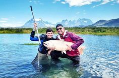Fishing the pristine aquamarine glacial rivers of Chile's Patagonian Andes. Alongside my son. After more than an hour of fighting we netted this breathtaking river monster. A gargantuan 51lb Sea Run King Salmon. #Incredible  Soon after released back to mother nature. #catchandrelease  Cheers! -David & Cam  Blog: http://ift.tt/1vCV6pv  #manvswild #fish #fishing #gonefishing #herefishyfishy #salmon #wanderlust #southamerica #chile #patagonia #travel #instatravel #travelgram #holiday #vacation…