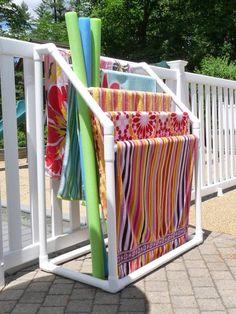 DIY poolside PVC towel drying rack
