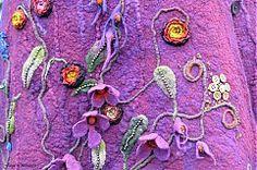 Hodvábno-vlnená sukňa vo farbách tmavej maliny a baklažánu