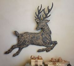 Leaping Metal Reindeer Wall Art