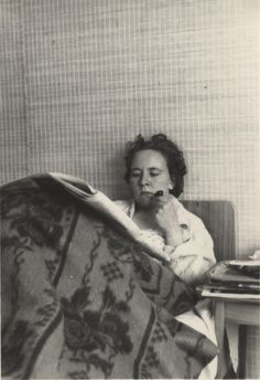 This is a favourite in my collection. Such a cool woman, smoking a pipe in bed! 1950s? Found in a skip in Helsinki, Finland.