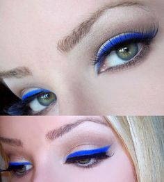 Electric blue instead of black eyeliner really gives those eyes a pop for a daring and stylish look!  Line your eyes with bright blue liner from Beauty.com.