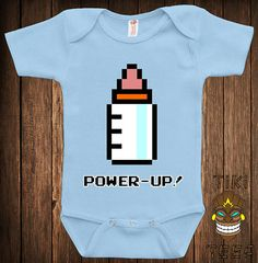 Funny 8-Bit Power Up Baby Bodysuit Baby Child Infant One-piece Cute Retro Video Game Arcade Gamer School Geek Nerd Joke Awesome Cute