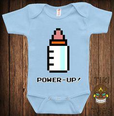 Funny 8-Bit Power Up Baby Bodysuit Baby Child Infant One-piece Cute Retro Video Game Arcade Gamer School Geek Nerd Joke Awesome Cute on Etsy, $15.00