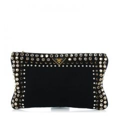 PRADA Canapa Studded Clutch Nero Black ❤ liked on Polyvore featuring bags, handbags, clutches, special occasion clutches, special occasion handbags, studded purse, studded handbags and evening handbags