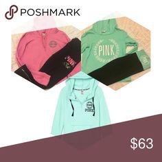 Victoria's Secret PINK SUPER BUNDLE Includes 1 small hoodie, 1 medium hoodie, 1 large hoodie, 1 medium yoga pants, 1 medium sweatpants PINK Victoria's Secret Tops Sweatshirts & Hoodies