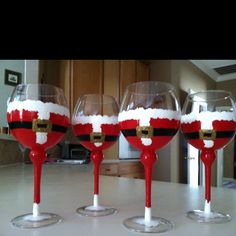 Santa holiday glasses