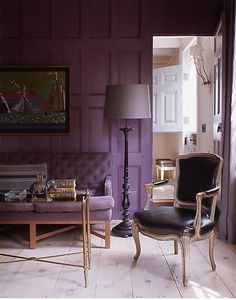 Purple walls are so dramatic in this living space. I love the tufted purple sofa against the wall. A Steven Gambrel design. Deco Violet, Home Design, Design Ideas, Lavender Room, Lavender Paint, Purple Rooms, Purple Walls, Purple Chair, Plum Walls