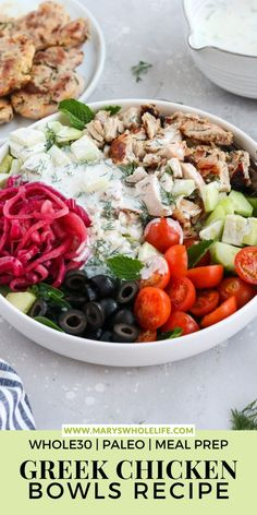 These Paleo Greek Chicken Bowls are packed with tender marinated chicken thighs, pickled onions, homemade dairy free Tzatziki and lots of veggies! Perfect for meal prep and gluten free, paleo, and Whole30! Paleo Meal Prep, Whole30 Dinner Recipes, Paleo Dinner, Easy Healthy Recipes, Paleo Recipes, Healthy Food, Grain Free, Dairy Free, Gluten Free