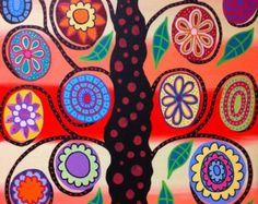 Items similar to Kerri Ambrosino Art PRINT Tropical Mexican Folk Art Flower Tree of Life on Etsy Tree Of Life Artwork, Tree Of Life Painting, Tree Art, Folk Art Flowers, Flower Art, Art Floral, Art Fantaisiste, Hawaiian Art, Tree Illustration
