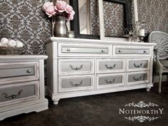 Glam Silver/distressed White Dresser & Night Stand