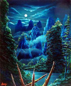 月に照らされた桂林■サイズ:F12号 606×500mm  アクリル風景画※仮縁の送りとなります。|ハンドメイド、手作り、手仕事品の通販・販売・購入ならCreema。