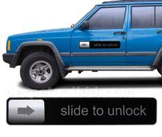 new Set of 2 SLIDE TO UNLOCK iPhone iPod Car Door Truck Fridge Magnet
