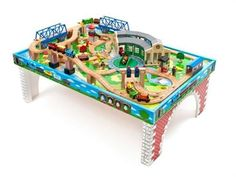 Thomas u0026 Friends Wooden Railway - Tidmouth Sheds Deluxe Set with Island of  Sodor Play Table
