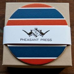 Repp stripe letterpress coasters from Pheasant Press. For the preppy in all of us. I love these.