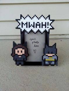 Catwoman and Batman Picture Frame  perler beads by BurritoPrincess