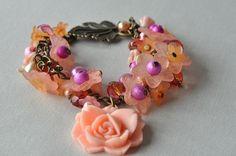 Handmade Peach Flower and Peach and Pink Beaded Charm Bracelet £10.00