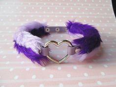 Pastel Goth Purple Choker Collar Pastel Grunge Heart by Kerenika
