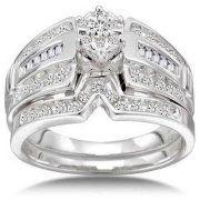 1/2 Carat Diamond 14kt White Gold Round Cluster Bridal Set