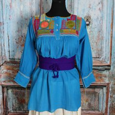 Turquoise & Multi-Color Hand Embroidered Mayan Blouse Chiapas Mexico Hippie Boho #Handmade #blouse