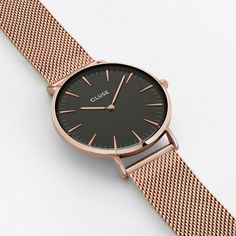 Cluse La Boheme Womens Watch with Rose Gold Case, Black Dial and Rose Gold Plated Stainless Steel Mesh Strap The refined style Silver Color, Black Silver, Gold Colour, Red Gold, Bohemian Style Jewelry, Boho Chic, Black Gold Jewelry, Silver Jewellery, Or Rose