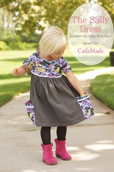 The Sally Dress Pattern Review + Giveaway - print on top and solid on the bottom
