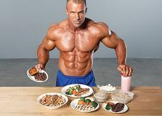 bodybuilder preparing food on the table