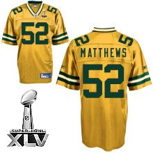 Packers  52 Clay Matthews Yellow Super Bowl XLV Stitched NFL Jersey Greg  Jennings 14e898a9a