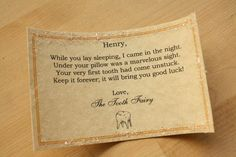 Cute letter from the tooth fairy for the first tooth.