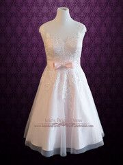 Plus Size Frosty Pink Tea Length Lace Wedding Dress | Sabrina