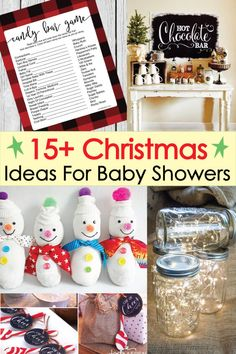 Winter & Christmas Baby Shower Ideas with free printable holiday decor! Baby Shower Food Menu, Baby Shower Prizes, Baby Shower Party Favors, Baby Shower Cakes, Shower Games, December Baby Shower Ideas, Cute Baby Shower Ideas, Baby Shower Themes, Baby Shower Decorations
