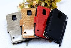 Lumiel Gold Snake Diary Wallet Case for Galaxy S4 Active