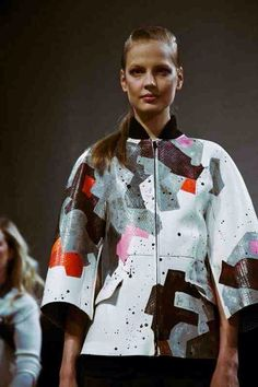 Patchwork snakeskin jacket at Fendi AW14 MFW. Photographed by Lea Colombo.