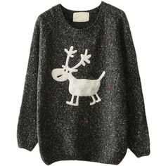 Black Womens Reindeer Snowflake Jumper Ugly Christmas Sweater (725 CZK) ❤ liked on Polyvore featuring tops, sweaters, shirts, black, jumpers sweaters, christmas jumper, jumper top, black christmas sweater and christmas tops