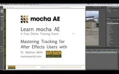 Mastering motion tracking for Adobe After Effects with mocha AE. mocha AE is a planar tracking and roto utility bundled with After Effects CS6. In this 1.5 hour webinar,  Dr. Mathias Möhl of mamoworld.com teaches the basics of understanding mocha's powerful tracking technology.