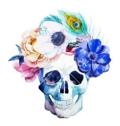 Anemones and scull vector art - on We Heart It