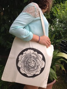 Peony Illustration Tote Bag Tote Bag Flower Tote Bag by Nivarts, €10.00