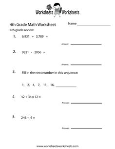 Grade Math Worksheets Printable with Answers 4th Grade Multiplication Worksheets, 4th Grade Math Worksheets, Free Printable Math Worksheets, Algebra Worksheets, Education Quotes For Teachers, Quotes For Students, Math Exercises, Math Enrichment, Fourth Grade Math