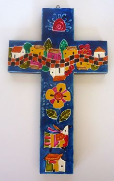 FOLK ART El Salvador Latin America HANDMADE Christian Cross VIBRANT COLORS