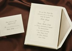 Item T9532 This sensational ecru invitation with raised pearl dots is whimsical yet modern. Any ink or liner color can be used to coordinate your day.