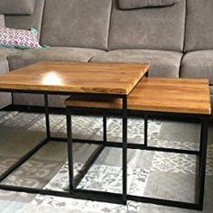 Original BestLoft®2er-Set Couchtisch Eiche Metall Beistelltisch Industiedesign loft vintage Sofatisch massiv Holz (Eiche geräuchert)