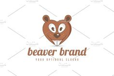 Beaver Love Logo Templates Logo design with concept of stylized beaver designed to resemble heart shape. As heart is common sym by Zack Fair Design