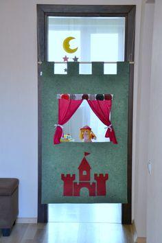 Children puppet theatre, Felt doorway theater, Green puppet theatre, Theater with castle, Prince and princess play, Ready to ship