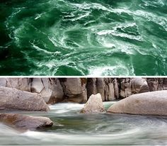 Some whirlpools, like the one in the bottom picture, are enticing and soothing. The picture on top depicts a maelstrom, a spinning underwater tornado that lures the adventurous and the curious nearer for a closer look into the natural phenomenon. Only you can decide if the relaxing whirlpool or the turbulent tempest calls to your soul.