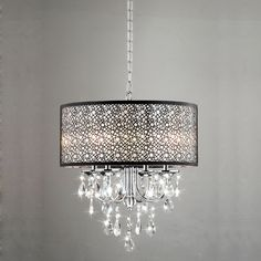 Bathroom Chandeliers Black chrome/ crystal 4-light square chandelierthe lighting store