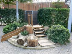 this would be a great play area for the patio - would make the slide have more of an incline. put this in the corner and add a bouldering wall to the fence