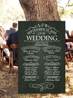 Wedding Program Chalkboard Sign Rustic Handwritten